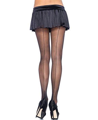 Leg Avenue 9132 Women's Lycra Sheer Cuban Foot Tights Pantyhose - One Size - Black/Black