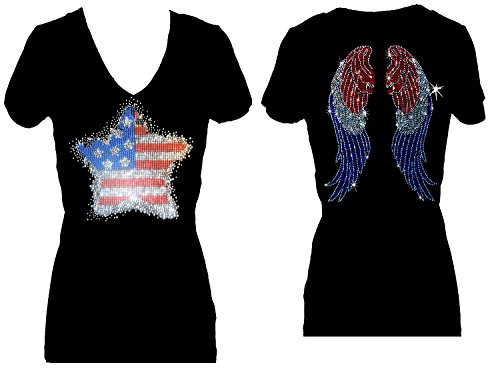 Star Flag July 4th Angel Wings Rhinestone V Neck Short Sleeve Tee Shirt (L)