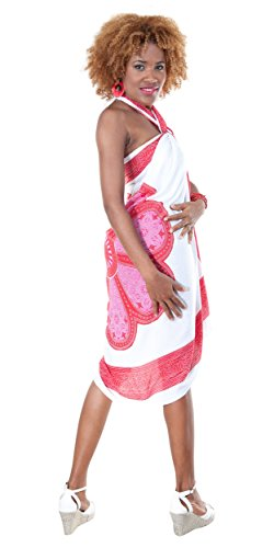 1 World Sarongs Womens Lotus Floral Swimsuit Cover-Up Pareo Sarong in Red/White