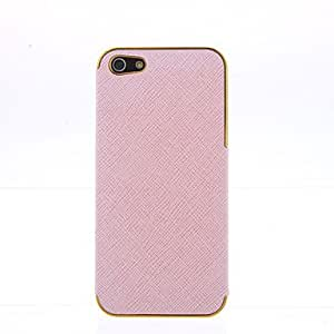 Pink PU Leather Cross pattern Gold Chrome Frame Cover for iPhone 5 --- COLOR:White