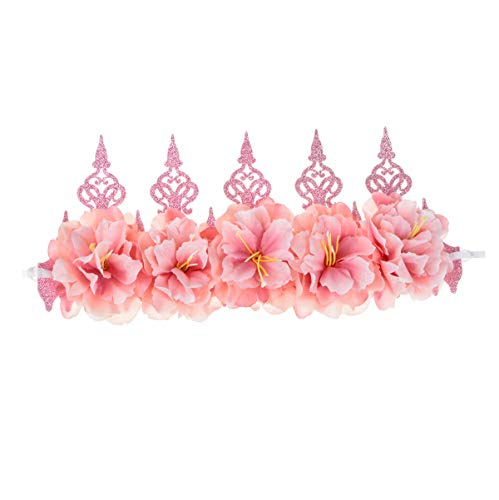 Floral Fall Rose Red Rose Flower Crown Woodland Hair Wreath Festival Headband F-67 (Tiara Pink)