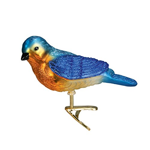 Old World Christmas Ornaments: Western Bluebird Glass Blown Ornaments for Christmas Tree