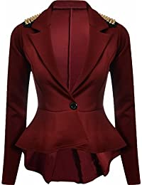 Ditzy Fashion Women's Crop Frill Shift Slim Fit Peplum Blazer Jacket Coat