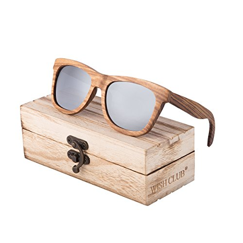 WISH CLUB Wayfarer Polarized Lenses Wood Frame Sunglasses for Women and Men Rimmed Mirrored Wooden Bamboo Eyewear for Unisex Mens Light Round Glasses with Box UV 400 Protection - Wooden Sunglasses