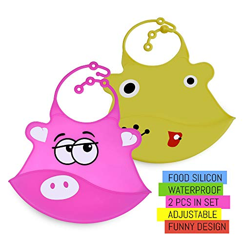 Waterproof Baby Bibs for Girl and for Boys ❤ New Model ❤ Easy Clean, Set of 2 Pack, Comfortable Soft Baby Bjorn Bib Yellow/Pink