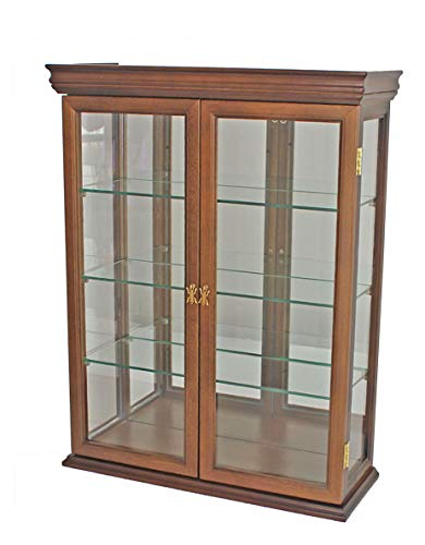 Glass Door Solid Wood - Solid Wood Tuscan Style Wall Curio Cabinet, Stand or Wall Mount, 19.75