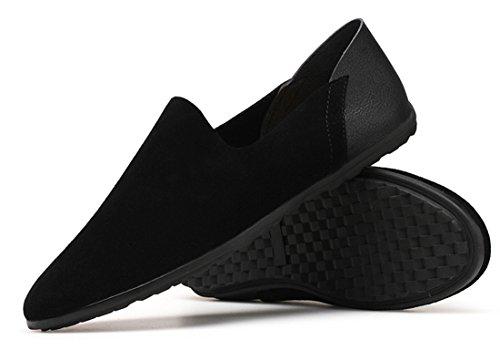 Tda Mens Casual Komfort Läder Slip-on Öre Loafers Kör Mockasiner Skor Svart