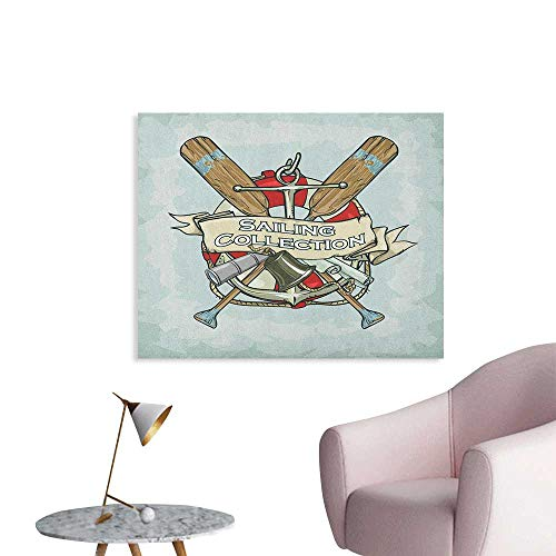 Anzhutwelve Nautical Wallpaper Sailing Collection Yacht Antique Historical Icons Life Saver Oars Poster Paper Almond Green Multicolor W48 xL32 (Antique Yacht)