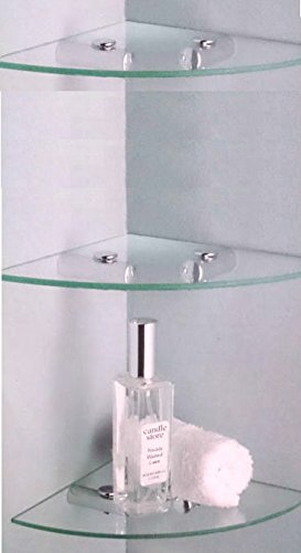 3 x GLASS CORNER SHELF IDEAL BATHROOM SHELVES: Amazon.co.uk: DIY & Tools