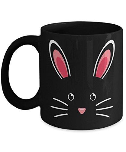 (Easter Bunny Face Coffee Mug Cute Easter Gift Idea For Women Men Black 11oz)