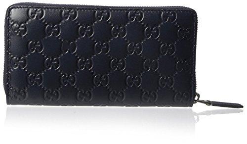 GUCCI Men's Tonal Leather GG Zip Around Wallet, Navy, One...