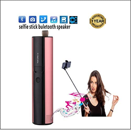 Selfie Stick Speaker Wireless Bluetooth Portable Speaker for Kids and Adults with Phone, Extendable Very Light and Long Handheld Outdoor Portable Mini Selfie Stick Speaker Pink