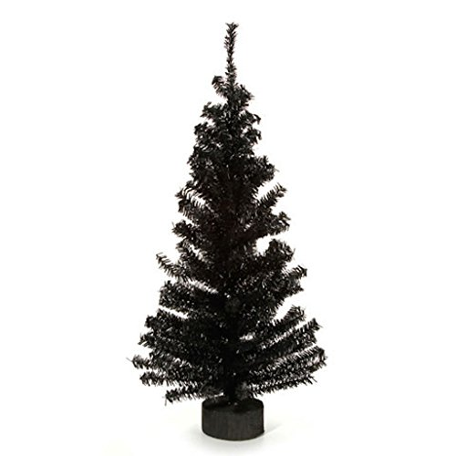 Canadian Pine Tree with Wood Look Base - 148 Tips - Black - 24 inches (1 pack) by Darice (Image #1)