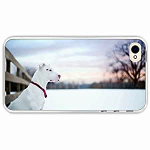 iPhone 4 4S Black Hardshell Case dog snow winter Transparent Desin Images Protector Back Cover