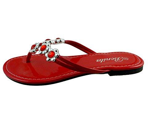 Patent Red Sandals (Bonita Women's Flip Flops Thong Flat Sandals V-07 Red)
