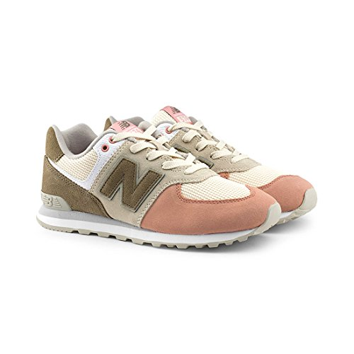 New Balance Kids' 574 Serpent Luxe Sneakers,Bone With Dusted Peach,6 Medium US