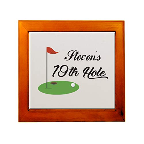 19th Ceramic Hole - Personalized Custom Text Golf 19th Hole Sports Ceramic Tile in Wood Frame