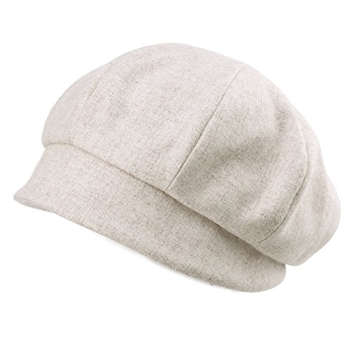 SIGGI Newsboy Cap for Women Wool Winter Hat Ladies Visor Beret Cloche Hats Cold Weather Hat Lined Beige