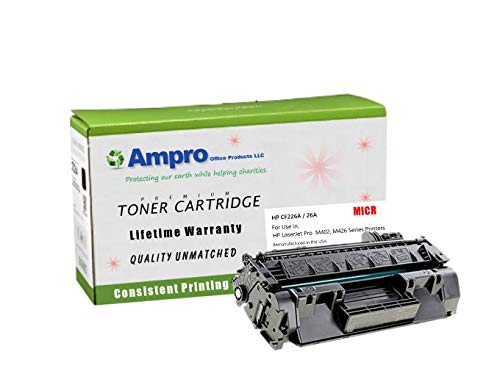 Ampros CF226A MICR Compatible Toner Cartridge Replacement for HP CF226A Micr or HP 26A for HP LaserJet Pro M402 M426 MFP Series.