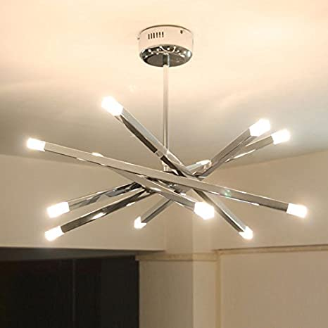 Modern chrome rod star led pendant lamp ceiling hanging chandelier modern chrome rod star led pendant lamp ceiling hanging chandelier 12 lights white aloadofball Choice Image