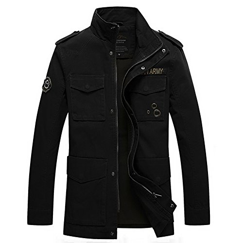H.T.Niao Jacket8928C2 Men 's Fashionable Stand - up Jackets(Black,Size L)