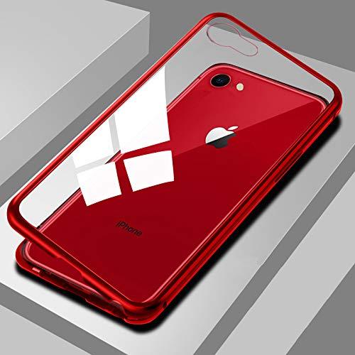 iPhone7plus iPhone8plus ケース YMXPY【前面9H強化ガラス付属】磁気吸着テクノロジー金属フレーム 耐スクラッチサポート 超薄型スリムフィット Apple iPhone 7plus iPhone8plus用マグネットフリップカバーワイヤレス充電対応 (iphone7plus/iphone8plus, clear red)