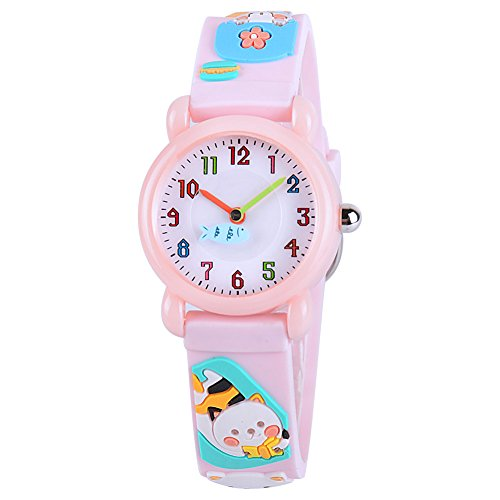 Venhoo Kids Watches Cartoon Waterproof Silicone Children Wristwatches Time Teacher Gifts for Girls (Pink Cat)