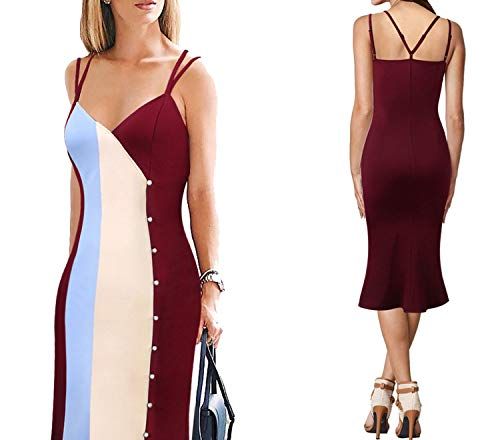Sexy Strappy Button Contrast Colorblock Casual Fishtail Mermaid Dress,Dark Red Blue -