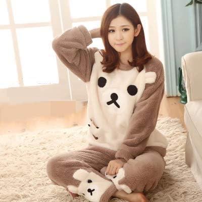 QJV Pijamas Lindos Pijamas Mujeres Estudiantes Mujeres Invierno Lana Grueso algodón Grueso Pijama XXS 601: Amazon.es: Hogar