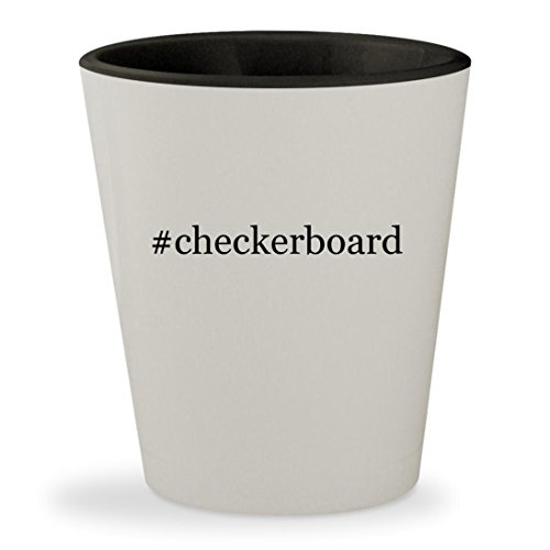 #checkerboard - Hashtag White Outer & Black Inner Ceramic 1.5oz Shot Glass