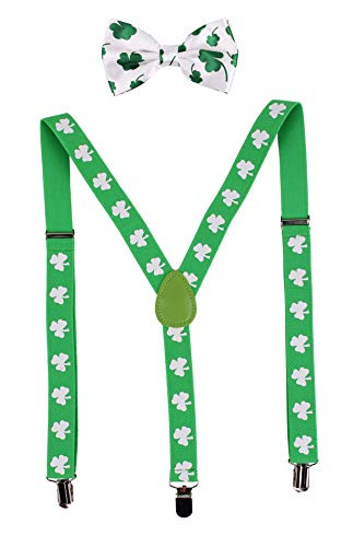 (FELIZHOUSE Mardi Gras ST. Patrick's Day Suspender Bow Tie Costume Set for Men Women Adjusatable - Purple Green Gold Sequin Shamrock Festive Party Cosplay)
