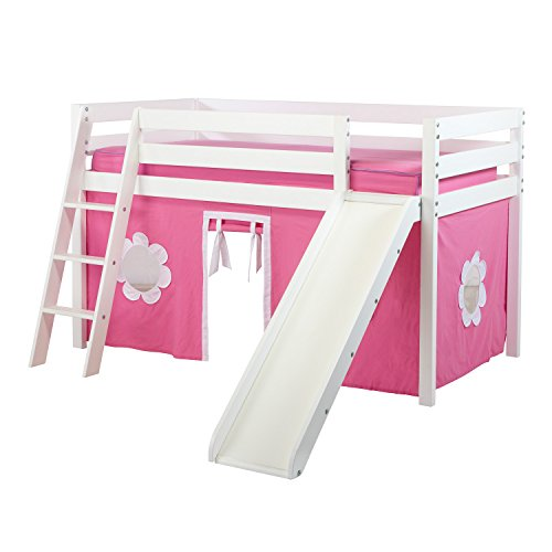 Jackpot! Essentials Low Loft Play Bed with Slide, Angled Ladder (Kids Birch Bunk Bed)