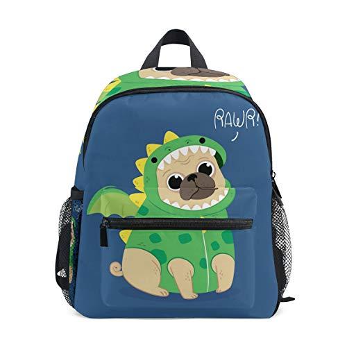 Yokii Cute Pug with Dragon Costume Kids Backpack Pre-School Bag for Kindergarten Toddler Boy Girls ()