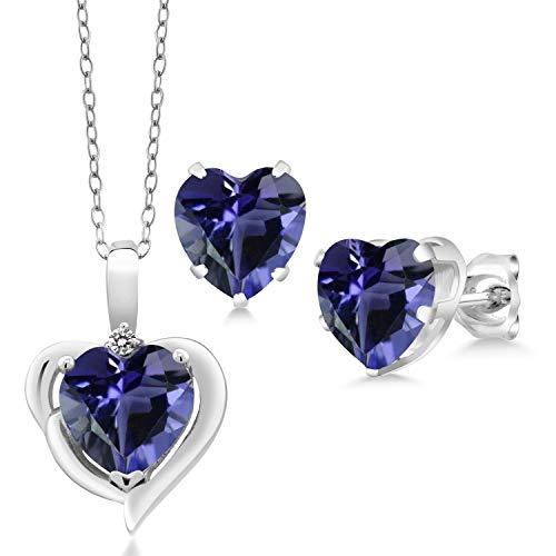 Iolite Pendant Set - Gem Stone King 3.77 Ct Heart Shape Blue Iolite Diamond 925 Sterling Silver Pendant Earrings Set
