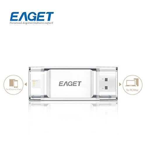 Eaget I60 OTG USB 3.0 Mobile Flash Drive with Lightning Connector For iPhones, iPads & Computers,64G,Silver