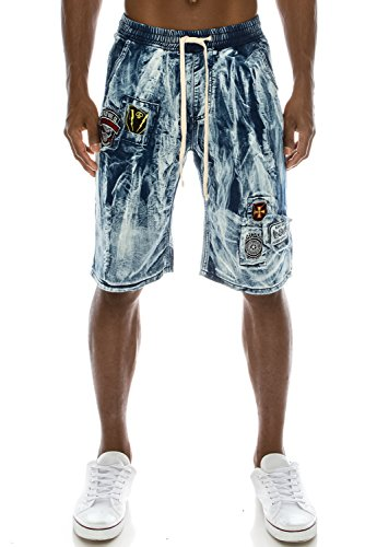JC DISTRO Mens Hipster Vintage Modern Denim Look Patched Jogger Shorts LightBlue L