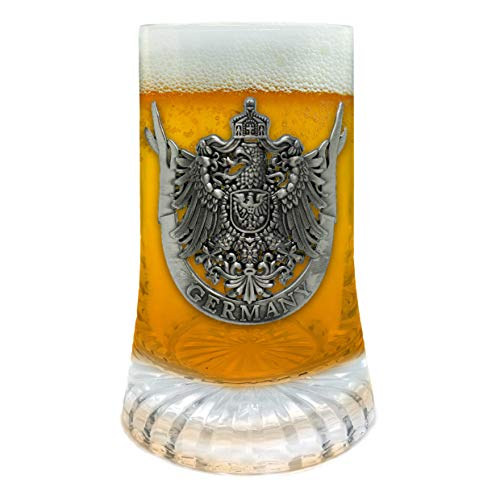 Beer Glass German Eagle Metal Medallion Bar Gifts for Men Glass Mug by E.H.G. | .5 Liter