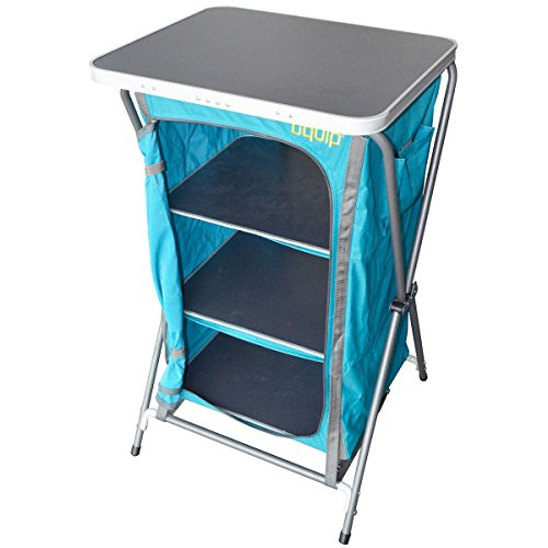 Uquip Charly Camp Cupboard with Cook Table, Carrying Case Included, Blue Gray