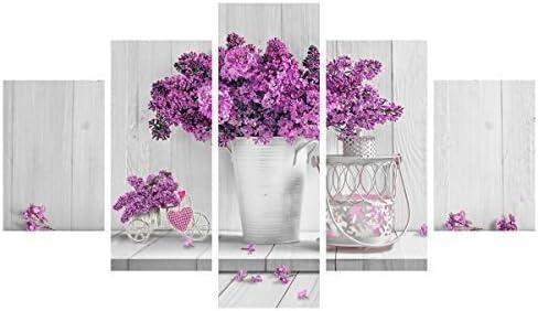 Lupia Cuadro Moderno 5Piezas de Madera Vogue 48x 85cm Purple Flowers