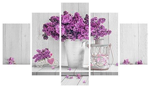 Quadro Moderno 5 pezzi in legno Vogue 48X85 cm PURPLE FLOWERS Lupia 8016123059766