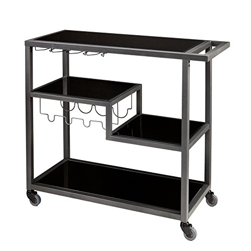 Holly & Martin Zephs Bar Cart, Gunmetal Gray Finish with Black Tempered (Glass Bar Cart)