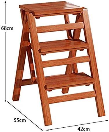 Byrhgood Escabeau en Bois Massif Pliant Multi-Fonction Escalier Tabouret Portable 3 Chaise Ladder À Double Usage Ladder Ascend Affichage Pot De Fleur Rack De Stockage