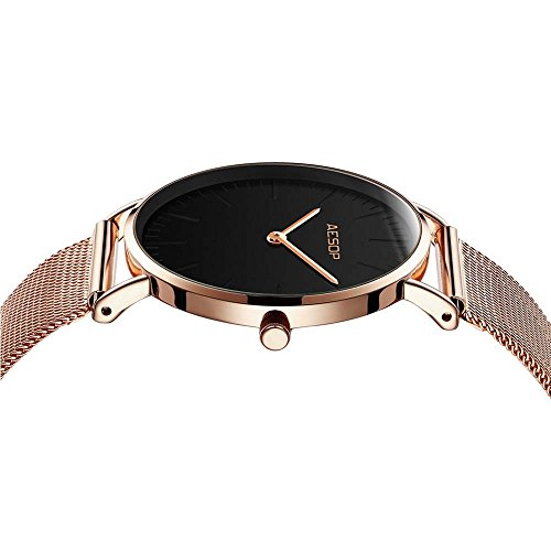Ultra Thin Watches for Women,Rose Gold Ladies Watch Water Resistant Mesh Band Luxury Sports Womens Watches Analog Japanese Quartz Wrist Watches Female Watches on Sale,Black Dial,Big Face,AESOP Brand by XIN LINGYU (Image #5)