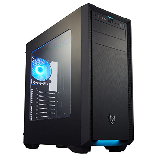FSP ATX Mid Tower PC Gaming Case with Front Panel Blue LED Light Bar (CMT330) by FSP
