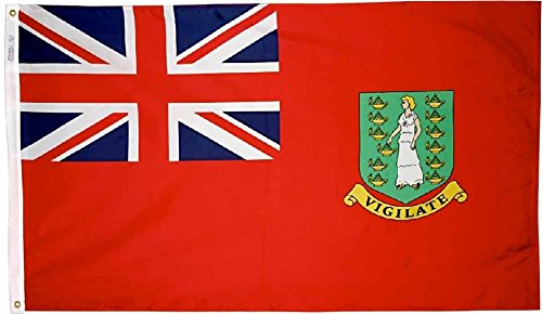 British Virgin Islands (Red) - 3 ft x 5 ft Nylon World Flag (Islands Virgin Flags World British)