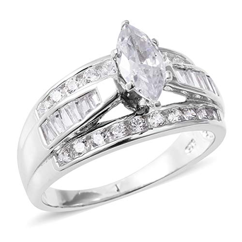 (925 Sterling Silver Marquee Cubic Zirconia CZ Statement Ring for Women Size 7 Cttw 3.8)
