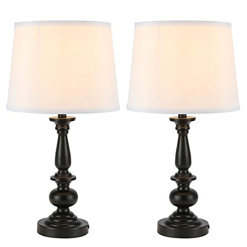 CO-Z Black Table Lamps Set of 2, Modern Nightstand Lamps for Bedroom Living Room, 22 Inches Metal Desk lamp in Black Finish and White Fabric Shade, ...