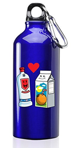 Orange Vodka - Hat Shark Vodka Loves OJ Orange Juice Cute Couple Meant to Be Screwdriver Graphic Colorful 3D Color Printed 17 oz Stainless Steel Water Bottle Blue
