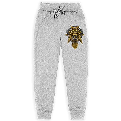 Boys Casual Training Sweatpants Owl Steampunk Adjustable Waist Trousers with Pocket