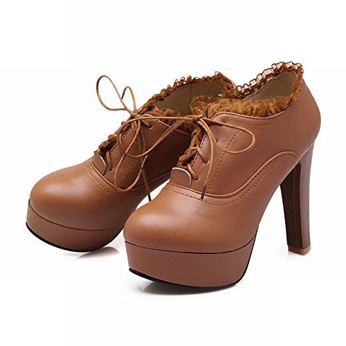 Charm Fot Våren Womens Plattform Hög Klack Fotled Klänning Boots Brown